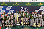 PODIUM 24 HOURS OF LE MANS  #1 PORSCHE TEAM (DEU) PORSCHE 919 HYBRID LMP1 TIMO BERNHARD (DEU) MARK WEBBER (AUS) BRENDON HARTLEY (NZL) #6 TOYOTA GAZOO RACING (JPN) TOYOTA TS050 HYBRID LMP1 STEPHANE SARRAZIN (FRA) MIKE CONWAY (GBR) KAMUI KOBAYASHI (JPN) #8 AUDI SPORT TEAM JOEST (DEU) AUDI R18 HYBRID LMP1 LUCAS DI GRASSI (BRA) LOIC DUVAL (FRA) OLIVER JARVIS (GBR)