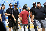 BOCA DEL RIO, VERACRUZ, MEXICO., October 24, 2012. - The reggaetenores Wisin & Yandel exclusively captured during the recording of his new video entitled 'Te Deseo', on the Malecon in Puerto de Veracruz Mexico October 24 2012. With a heavy security that included at least five blocks in the periphery of the Malecon, the duo Wisin & Yandel held shooting her music video where hundreds of fans trying to see the artists. Photo.-MC (*Photo*:Tirador MC/NortePhoto)....(*Photo*:Tirador MC/NortePhoto)