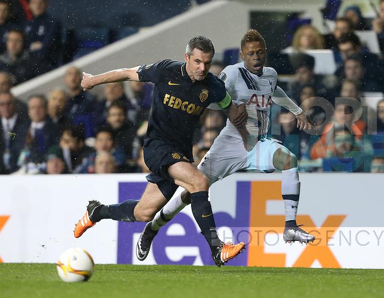 Tottenham's Clinton N'Jie tussles with Monaco's Jeremy Toulalon<br /> <br /> UEFA Europa League - Tottenham Hotspur v Monaco - White Hart Lane - England -10th December 2015 - Picture David Klein/Sportimage