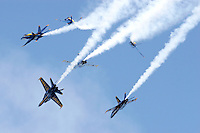 The six aircraft of the Blue Angels demonstrate a formation break during the 2007 San Francisco Fleet Week activities. The U.S. Navy Blue Angel's fly the F/A-18 Hornet. Photographed 10/07