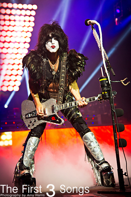 Paul Stanley of Kiss performs at Riverbend Music Center in Cincinnati, Ohio.