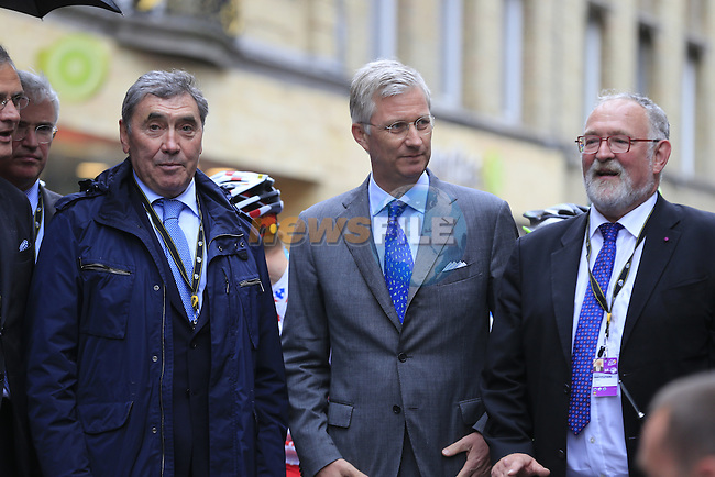Two Belgian Kings, Philippe King of Belgium and Former Champion Eddy Merckx with special guests on the start line in Ypres for the cobbled stage Stage 5 of the 2014 Tour de France running 155.5km from Ypres to Arenberg. 9th July 2014.<br /> Picture: Eoin Clarke www.newsfile.ie