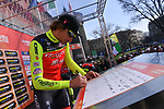 Filippo Pozzato (ITA) Wilier Triestina&ndash;Selle Italia at sign on before the start of the 108th edition of Milan-San Remo 2017 by NamedSport the first Classic Monument of the season running 291km from Milan to San Remo, Italy. 18th March 2017.<br /> Picture: La Presse/Gian Mattia D'Alberto | Cyclefile<br /> <br /> <br /> All photos usage must carry mandatory copyright credit (&copy; Cyclefile | La Presse)