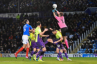 Exeter City keeper Lewis Ward punches clear during Portsmouth vs Exeter City, Leasing.com Trophy Football at Fratton Park on 18th February 2020