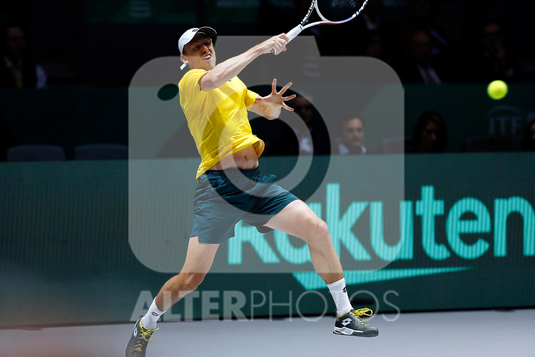 John Millman of Australia plays a forehand against Vasek Pospisil of Canada during Day 4 of the 2019 Davis Cup at La Caja Magica on November 21, 2019 in Madrid, Spain. (ALTERPHOTOS/Manu R.B.)