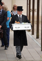 Pictured: The coffin carrying baby Sion is brought out after the service at Briwnant Chapel at Thornhill Cemetery, Cardiff, Wales, UK. Tuesday 28 June 2016<br /> Re: The funeral of Sion, the baby boy found dead in the River Taff in Cardiff has taken place<br /> Generous locals raised nearly &pound;1,400 for the memorial after reading about plans to hold a fitting ceremony for the newborn baby whose body was discovered in Cardiff a year ago.<br /> The funeral took place at the Briwnant Chapel at Thornhill Crematorium, Cardiff. Members of the public are invited to be among the congregation.