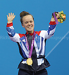 Paralympics London 2012 - ParalympicsGB - Swimming held at the Aquatic Centre 3rd September 2012  .Eleanor Simmonds waves to the crowd after receiving her Gold medal after competing in the Women's 200m IM - SM6 Final at the Paralympic Games in London. .Photo: Richard Washbrooke/ParalympicsGB