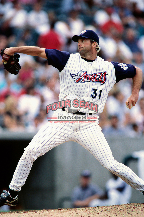 Chuck Finley of the Anaheim Angels plays in a baseball game at Edison International Field during the 1998 season in Anaheim, California. (Larry Goren/Four Seam Images)