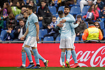 Celta de Vigo's Hugo Mallo and Nestor Araujo celebrate goal  during La Liga match. February 09,2019. (ALTERPHOTOS/Alconada)