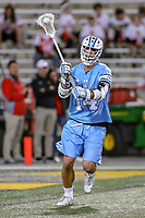 College Park, MD - April 27, 2019: John Hopkins Bluejays attack Cole Williams (14) passes the ball during the game between John Hopkins and Maryland at  Capital One Field at Maryland Stadium in College Park, MD.  (Photo by Elliott Brown/Media Images International)
