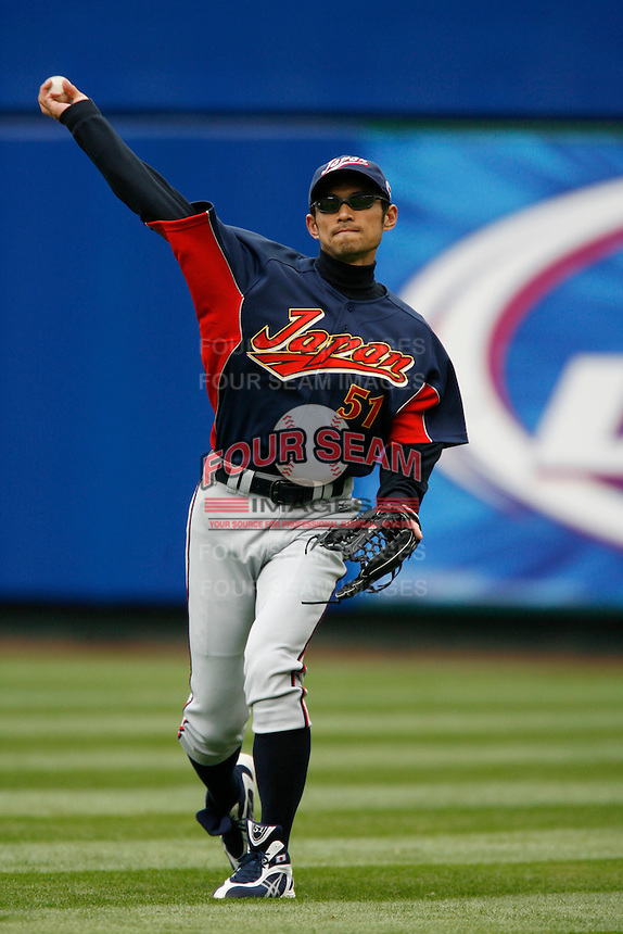 Ichiro Suzuki of Japan during World Baseball Championship at Angel Stadium in Anaheim,California on March 12, 2006. Photo by Larry Goren/Four Seam Images