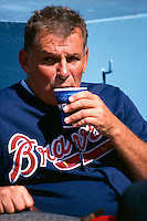 Atlanta Braves Manager Bobby Cox participates in a Major League Baseball game at Dodger Stadium during the 1998 season in Los Angeles, California. (Larry Goren/Four Seam Images)
