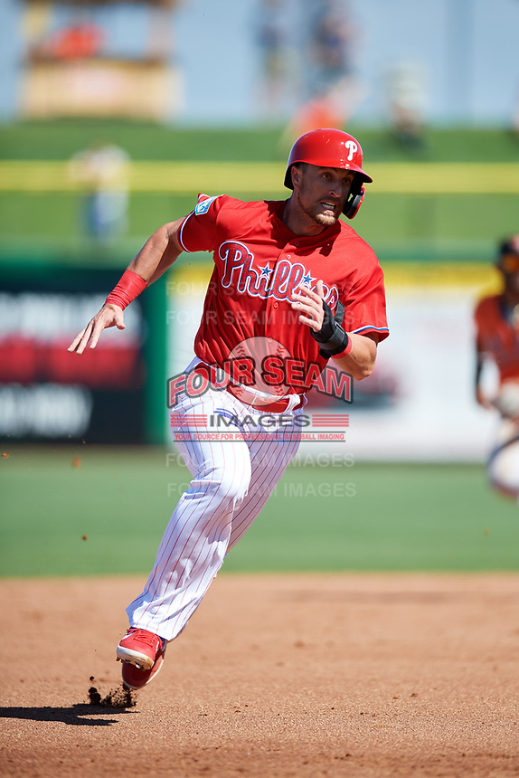 Philadelphia Phillies designated hitter Lane Adams (18) runs the bases during a Grapefruit League Spring Training game against the Baltimore Orioles on February 28, 2019 at Spectrum Field in Clearwater, Florida.  Orioles tied the Phillies 5-5.  (Mike Janes/Four Seam Images)