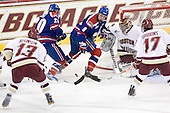 Cam Atkinson (BC - 13), Michael Scheu (Lowell - 20), Colin Wright (Lowell - 8), Parker Milner (BC - 35), Brian Gibbons (BC - 17) - The Boston College Eagles defeated the visiting University of Massachusetts-Lowell River Hawks 5-3 (EN) on Saturday, January 22, 2011, at Conte Forum in Chestnut Hill, Massachusetts.