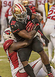 San Francisco 49ers running back Carlos Hyde (28) hold on to the ball on Thursday, October 06, 2016 at Levis Stadium in Santa Clara, California. The Cardinals defeated the 49ers 33-21.