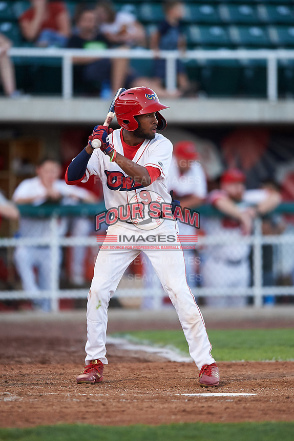 Orem Owlz Brandon White (9) at bat during a Pioneer League game against the Idaho Falls Chukars at The Home of the OWLZ on August 13, 2019 in Orem, Utah. Orem defeated Idaho Falls 3-1. (Zachary Lucy/Four Seam Images)