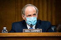 United States Senator Tom Carper (Democrat of Delaware), ranking member of the US Senate Environment and Public Works Committee, speaks during a hearing, on Capitol Hill in Washington, D.C., U.S., on Wednesday, May 20, 2020. <br /> Credit: Al Drago / Pool via CNP/AdMedia