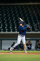 AZL Brewers left fielder Jesus Lujano (26) bats during a game against the AZL Cubs on August 6, 2017 at Sloan Park in Mesa, Arizona. AZL Cubs defeated the AZL Brewers 8-7. (Zachary Lucy/Four Seam Images)