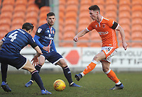 Blackpool's Jordan Thompson under pressure from Walsall's George Dobson<br /> <br /> Photographer Kevin Barnes/CameraSport<br /> <br /> The EFL Sky Bet League One - Blackpool v Walsall - Saturday 9th February 2019 - Bloomfield Road - Blackpool<br /> <br /> World Copyright © 2019 CameraSport. All rights reserved. 43 Linden Ave. Countesthorpe. Leicester. England. LE8 5PG - Tel: +44 (0) 116 277 4147 - admin@camerasport.com - www.camerasport.com