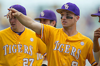 LSU Tigers shortstop Alex Bregman (8) with his teammates before the Southeastern Conference baseball game against the Texas A&M Aggies on April 25, 2015 at Alex Box Stadium in Baton Rouge, Louisiana. Texas A&M defeated LSU 6-2. (Andrew Woolley/Four Seam Images)