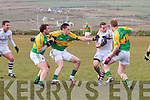Dromids Denis O'Sullivan with no options as he runs into a wall of Skellig Rangers players Brian Hickey, Alan Devane & Bernard Walsh.