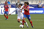 24 October 2014: Raquel Rodriguez Cedeno (CRC) (11) and Maylee Attin (TRI) (9). The Costa Rica Women's National Team played the Trinidad & Tobago Women's National Team at PPL Park in Chester, Pennsylvania in a 2014 CONCACAF Women's Championship semifinal game, which serves as a qualifying tournament for the 2015 FIFA Women's World Cup in Canada. Costa Rica advanced to the championship game, and qualified for next year's Women's World Cup, by winning the penalty shootout 3-0 after the game ended in a 1-1 tie after double overtime.