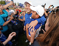 Jon Rahm (Team Europe) Francesco Molinari (Team Europe) at the Ryder Cup, Le Golf National, Iles-de-France, France. 30/09/2018.<br /> Picture Claudio Scaccini / Golffile.ie<br /> <br /> All photo usage must carry mandatory copyright credit (© Golffile | Claudio Scaccini)