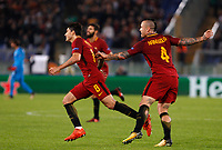 Roma s Diego Perotti, left, celebrates with his teammate Radja Nainggolan after scoring during the Champions League Group C soccer match between Roma and Chelsea at Rome's Olympic stadium, October 31, 2017.<br /> UPDATE IMAGES PRESS/Riccardo De Luca