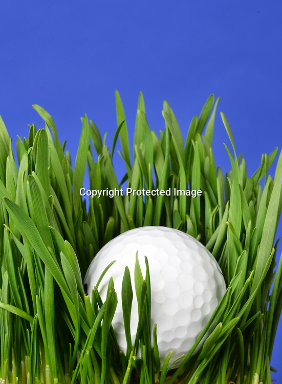Stock photo of golf ball in grass