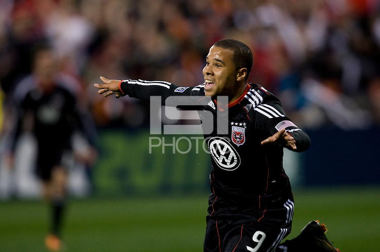 Charlie Davies (9) of D.C. United celebrates his goal during the home opener at RFK Stadium in Washington D.C.  D.C. United defeated the Columbus Crew, 3-1.
