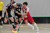 Singapore&rsquo;s Jill Quek and Thailand&rsquo;s Tikhamporn Sakunpithak in action during the World Floorball Championships 2017 Qualification for Asia Oceania Region - Singapore v Thailand at ASB Sports Centre , Wellington, New Zealand on Sunday 5 February 2017.<br /> Photo by Masanori Udagawa<br /> www.photowellington.photoshelter.com.