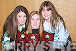 PLAQUES: Alana Diggin, Cliodhna Carmody and Sarah Cunningham from Tralee Handball Club who were presented with their plaques at the Annual Handball Dinner at Ballyroe Heights Hotel, Tralee, on Friday night..
