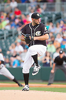 Charlotte Knights starting pitcher Felipe Paulino (39) in action against the Indianapolis Indians at BB&T Ballpark on May 23, 2014 in Charlotte, North Carolina.  The Indians defeated the Knights 15-6.  (Brian Westerholt/Four Seam Images)