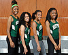 The Brentwood 4x400 relay team poses for a group portrait during Newsday's All-Long Island girls track and field photo at company headquarters on Wednesday, June 15, 2016. Appearing are, from left, Shaseido Robinson, Nataly Ramirez, Angelique Palmer and Asia Chen.