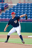 Stephen Strausburg of the Washington Nationals pitches in an Instructs game in Viera Florida, on October 5th, 2009 (Photo By Scott Jontes/Four Seam Images)