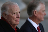 WASHINGTON, DC - DECEMBER 03: Former U.S. Secretary of State James Baker (L) and former U.S. Vice President Dan Quayle (R) await the arrival of the procession carrying former U.S. President George H. W. Bush at the U.S. Capitol December 3, 2018 in Washington, DC. A state funeral for former U.S. President Bush will be held in Washington over the next three days, beginning with him lying in state in the Rotunda of the Capitol until Wednesday morning. (Photo by Win McNamee/Getty Images)