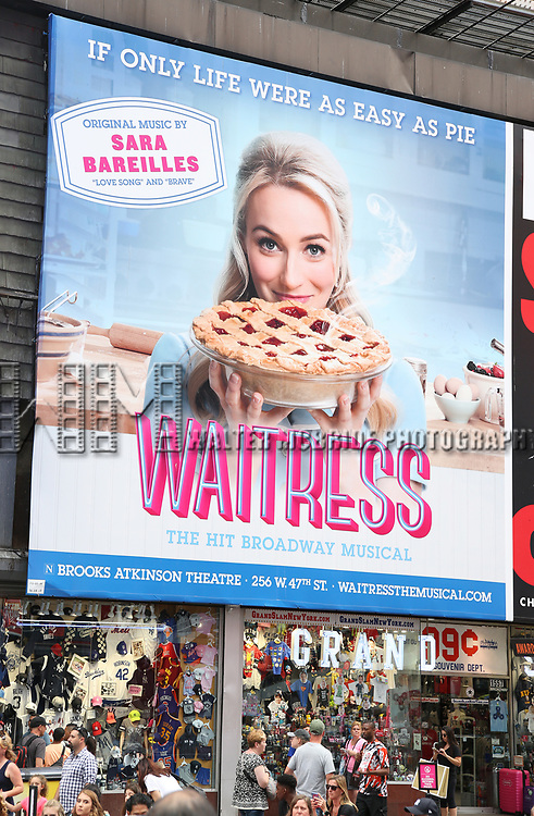 "Times Square Billboard for Betsy Wolf in ""Waitress"" celebrating 'Sugar, Butter, Flour: The Waitress Pie Cookbook at The Brooks Atkinson Theatre on June 27, 2017 in New York City."