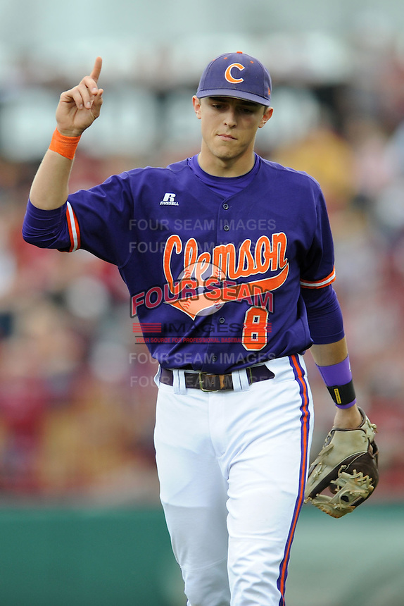 Third Baseman Richie Shaffer #8 of the Clemson Tigers during a game against the South Carolina Gamecocks at Carolina Stadium on March 3, 2012 in Columbia, South Carolina. The Gamecocks defeated the Tigers 9-6. Tony Farlow/Four Seam Images