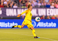 PHILADELPHIA, PA - AUGUST 29: Patricia Morais #12 of Portugal punts the ball during a game between Portugal and the USWNT at Lincoln Financial Field on August 29, 2019 in Philadelphia, PA.