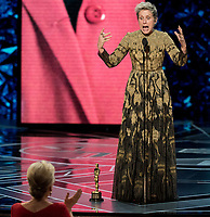 Frances McDormand accepts the Oscar&reg; for performance by an actress in a leading role for work on &ldquo;Three Billboards Outside Ebbing, Missouri&rdquo; during the live ABC Telecast of the 90th Oscars&reg; at the Dolby&reg; Theatre in Hollywood, CA on Sunday, March 4, 2018.<br /> *Editorial Use Only*<br /> CAP/PLF/AMPAS<br /> Supplied by Capital Pictures