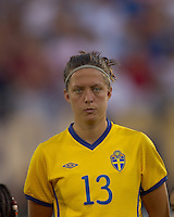 Sweden defender Lina Nilsson (13). The US Women's national team beat Sweden, 3-0, at Rentschler Field on July 17, 2010.