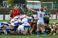 20190928 - Neder Over Hembeek, BELGIUM : Dendermonde's and AAC Amsterdam's players are pictured setting a scrum during the female rugby match between the Dendermonde RC Women  and AAC Amsterdam Rugby Women, this is the final of the BeNeCup  on Saturday 28th September 2019 at the Nelson Mandela Stadium , Belgium. PHOTO SPORTPIX.BE | SEVIL OKTEM
