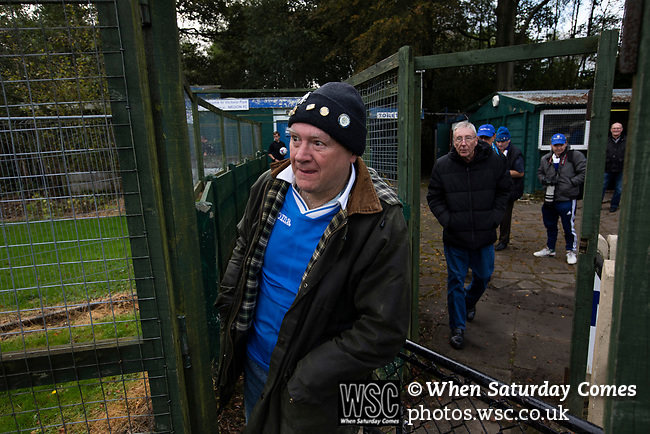 Nelson 3 Daisy Hill 6, 12/10/2019. Victoria Park, North West Counties League, First Division North. A group of home supporters waiting for the players to come on to the pitch before Nelson hosted Daisy Hill at Victoria Park. Founded in 1881, the home club were members of the Football League from 1921-31 and has played at their current ground, known as Little Wembley, since 1971. The visitors won this fixture 6-3, watched by an attendance of 78. Photo by Colin McPherson.