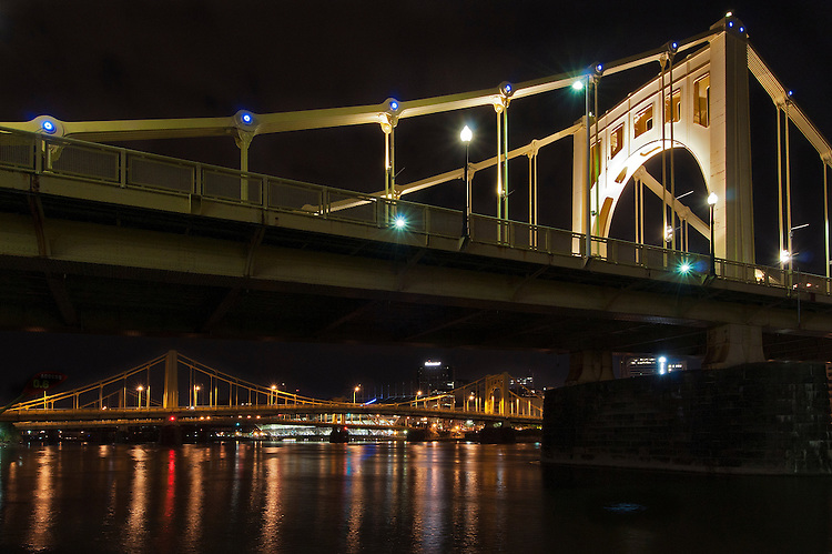 Night view of bridges over the Allegheny River, Pittsburgh