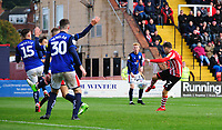 Lincoln City's Tom Pett scores the opening goal<br /> <br /> Photographer Chris Vaughan/CameraSport<br /> <br /> The EFL Sky Bet League Two - Lincoln City v Crewe Alexandra - Saturday 6th October 2018 - Sincil Bank - Lincoln<br /> <br /> World Copyright &copy; 2018 CameraSport. All rights reserved. 43 Linden Ave. Countesthorpe. Leicester. England. LE8 5PG - Tel: +44 (0) 116 277 4147 - admin@camerasport.com - www.camerasport.com