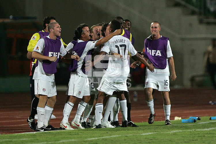 The United States' Bryan Arguez (17) is celebrated by his teammates after scoring against Cameroon during the FIFA Under 20 World Cup Group C Match between the United States and Cameroon at the Mubarak Stadium on September 29, 2009 in Suez, Egypt.