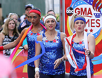 NEW YORK, NY-August 08: Rachel Smith Paula Faris, Sara Haines at Good Morning America going for GMA Olympic Gold in New York. NY August 08, 2016. Credit:RW/MediaPunch