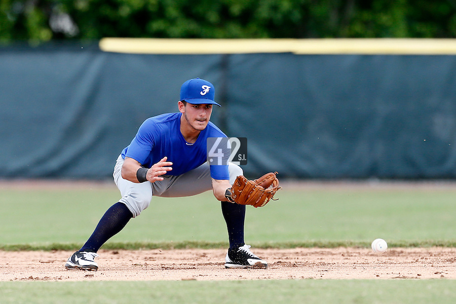 19 September 2012: Maxime Lefevre eyes the ball during Team France friendly game won 6-3 against Palm Beach State College, during the 2012 World Baseball Classic Qualifier round, in Lake Worth, Florida, USA.