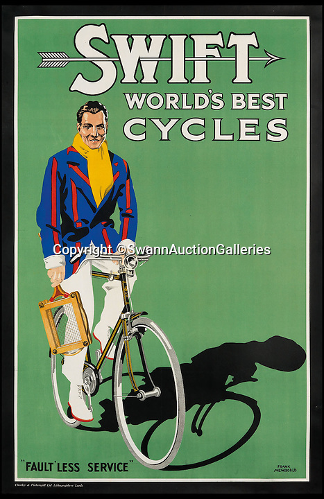 BNPS.co.uk (01202 558833)<br /> Pic: SwannAuctionGalleries/BNPS<br /> <br /> ***Please Use Full Byline***<br /> <br /> Swift / World's Best Cycles (1935), by Frank Newbould, estimated at $3,000 - $4,000. <br /> <br /> <br /> The world's largest collection of vintage tennis posters spanning a century of the sport has emerged for sale for a staggering 100,000 pounds.<br /> <br /> The posters date from the late 19th century and advertise everything from famous tennis tournaments to luxury holiday destinations and even cars.<br /> <br /> The earliest poster in the collection comes from 1896 and advertises the Western Lawn Tennis Tournament at the Kenwood Country Club in Chicago.<br /> <br /> The collection was compiled by an Australian poster enthusiast over several decades and is thought to be the largest ever to come to auction.<br /> <br /> The posters will be sold individually for prices ranging between 150 pounds to 12,000 pounds and are collectively tipped to fetch a whopping 100,000 pounds in the Swann Auction Galleries sale.
