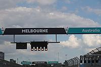 11th March 2020; Albert Park, Melbourne, Australia; Formula 1 Australia Grand Prix, setup day; Melbourne signage on the starting lights posts